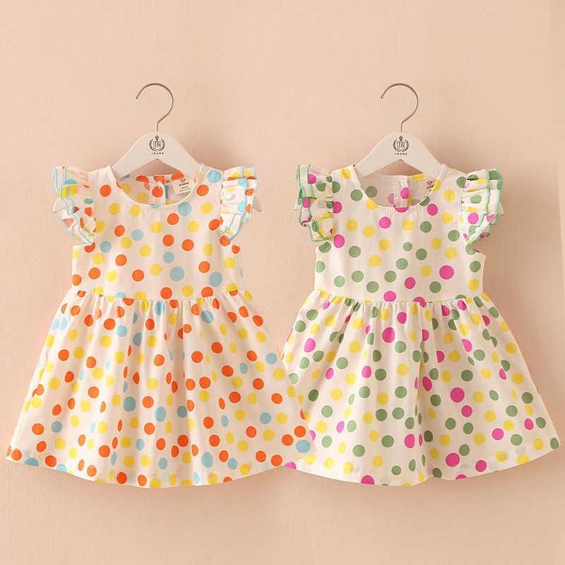 Summer 2-10 Years Beautiful Pretty Sweet Children Pleat Short Fly Sleeve Party Prom Polka Dot Dresses For Baby Kids Girls 210529
