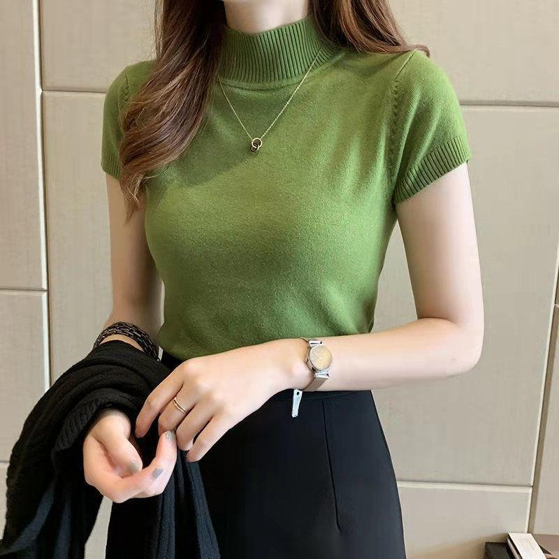 2021 New Spring Autumn Women's T-Shirts Fashion Half Turtleneck Design Short Sleeve Sweater Knit Fabric All-Match Skinny Shirt