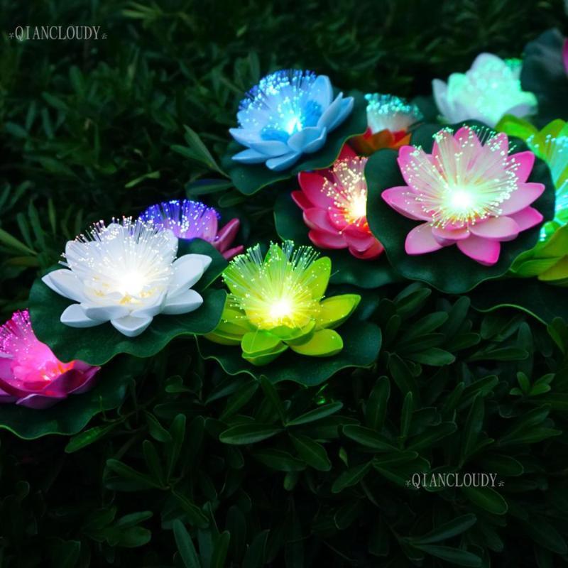 زهور الزهور الزخرفية 5 أجزاء adsificia led الألياف البصرية للماء وهمية بركة ضوء لوتس ورقة زنبق اللون الزفاف العائمة d30