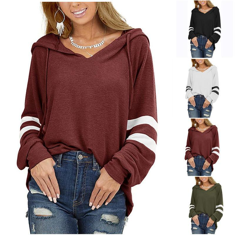 Women's T-Shirt 2021 Autumn Winter Sweatshirts Solid Color Drawstring Hooded Long-Sleeved Loose Top Casual Pullover Clothing