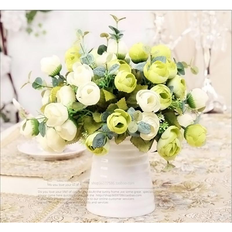 10 têtes de la soie fausse thé roses de thé artificiels fleurs bouquet de mariage salle de mariage salle bureau table décoration multi-couleurs