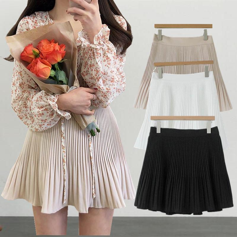 2021 Été coréen Nouveau Taille haute plissée douce taille haute Slim A-Line Skiffon jupe