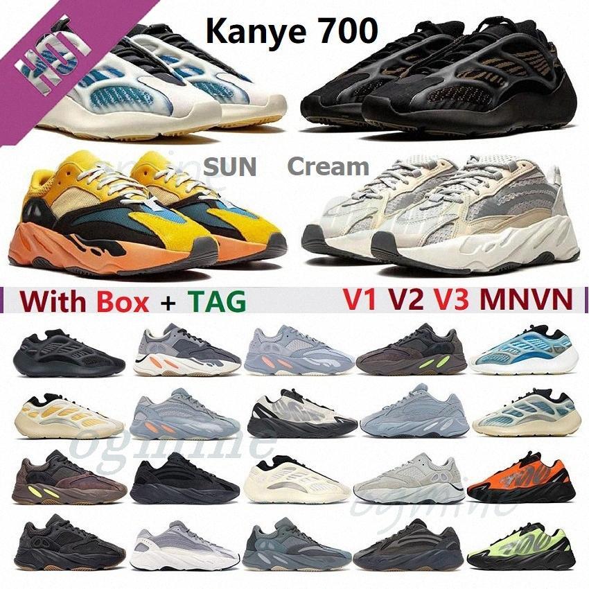 최고 품질의 Kanye Shoe V1 V2 V3 EREMIEL VANTA 700 SUN 정적 남자 WOMENS WEST MNVN 스포츠 디자이너 신발 육상 운동화 36-47 # ERHJ #