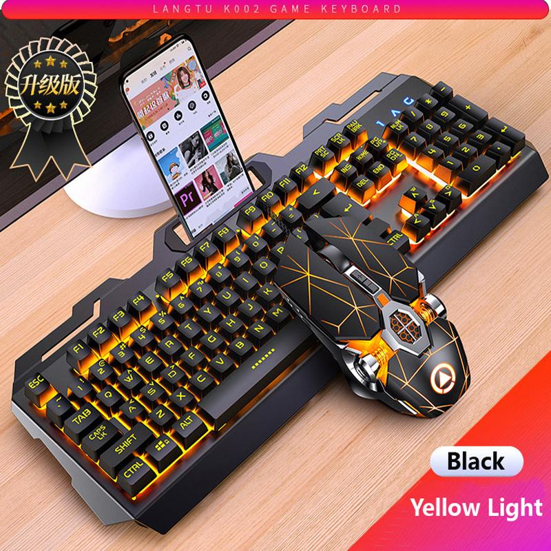 Gaming Keyboard Mouse Feeling meccanico RGB LED retroilluminato Gamer Tastiere USB Keyboard Wired Tastiera per computer Tastiera per PC Laptop 210315