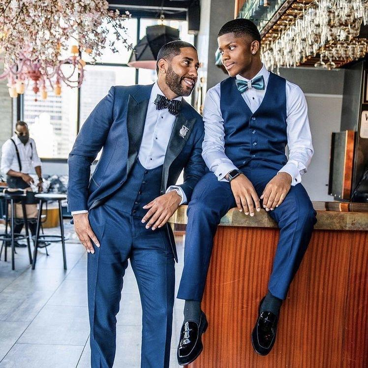 Men's Suits & Blazers Blue Tuxedos Dinner Prom Dresses Classic Fit Suit Men Wedding 3 Pieces Father And Son Match