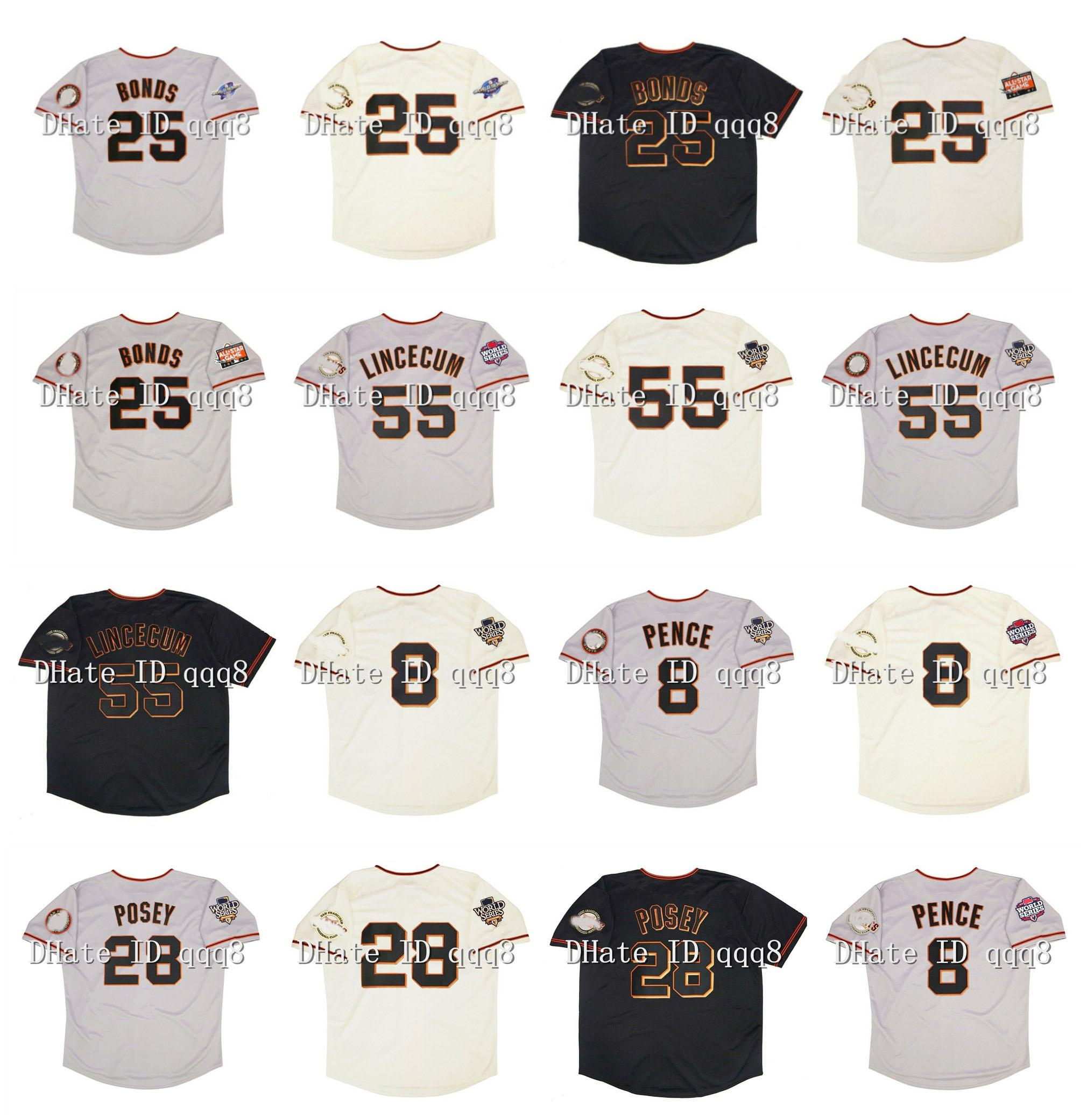 2002 Retro 25 Barry Bonds Jersey 55 Tim Lincecum 8 Hunter Pence 28 Buster Posey 2010 2012 WS Patch 2007 All Star Vintage Baseball Camisas