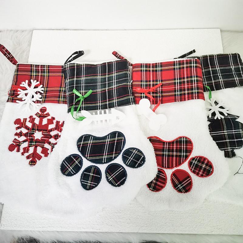 كبير جودة عالية عيد الميلاد تخزين كلب منقوشة باو سانتا الجوارب الحلوى جورب أكياس مهرجان هدية حقيبة ديكور 08