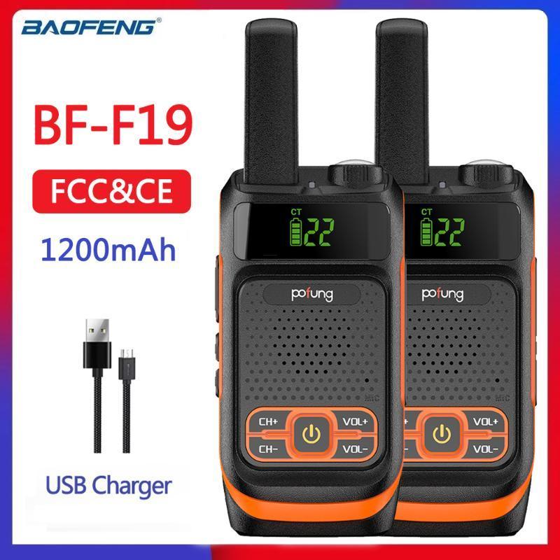 2 adet Baofeng Pofung FRS Çocuklar F19 Mini Jambon Radyo Çocuk Taşınabilir İki Yönlü Radyo Lisanssız 22 Kanallar USB Şarj Porta
