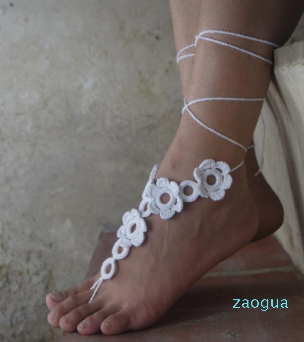 Tığ Yalınayak Sandalet Çıplak Ayakkabı Ayak Takı Plaj Yoga Ayakkabı Giymek Gelin Halhal Gelin Plaj Aksesuarları Dantel Sandalet X0