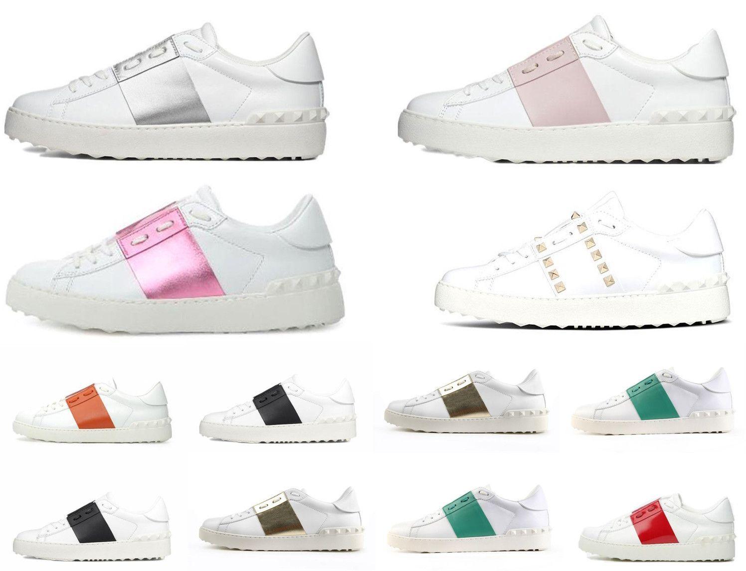 2021 أعلى الأزياء مرصعة الثلاثي الأبيض VLTN أحذية الرجال النساء عارضة حذاء جلد البقر المدربين المدربين الرياضة رياضة الأعلى