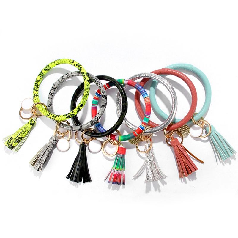 PU-Leder Armband Keychain Sonnenblume Leopard Armband Schlüsselanhänger Tassel Bangle Keychain Anhänger Party Favor LLA375