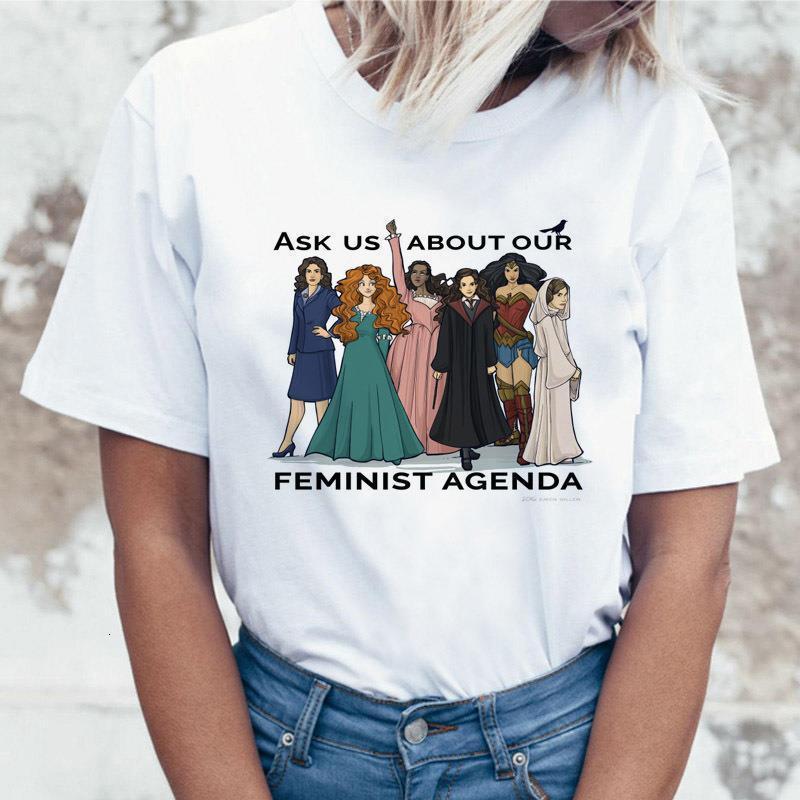 Спросите нас о нашей феминистской повестке дня. Письмо Печать Футболка Графические тройники Женщины Одежда 2021 Рубашка Harajuku Vogue Смешные футболки