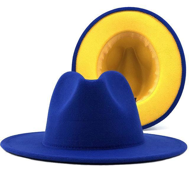 Women Wide-Brimmed Felt Wool Jazz Fedora Hats Panama Style Ladies Trilby Gambler Fashion Hat Cowboy Party Cap Winter Blue / Red