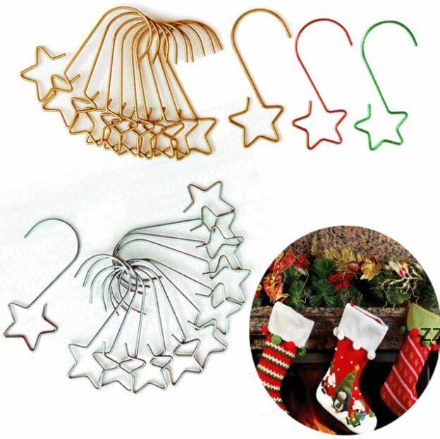 Adornos de Navidad Ganchos Adornos de acero inoxidable Perchas para Festival Decoraciones de árbol de alta calidad 4 colores HWA8898