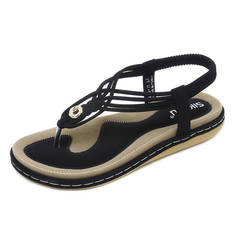 Sandálias 2021 Mulheres Artificial Leather Metal Trançado Grande Senhoras Sapatos de Salto Plana para
