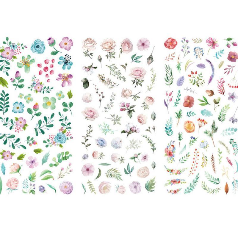 3 unids / set NUEVOS Flores de dibujos animados hojas pegatina DIY Diario Decor Stickers Scrapbook Cute Papelería Diario Suministros