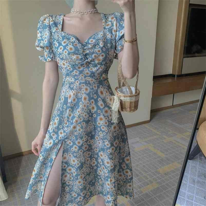 Coréen Chic Vintage Daisy Imprimer Dres Puff Sleeve Sundress Robe Femme Taille haute A-Line Robes d'été Fête Vestidos 210602