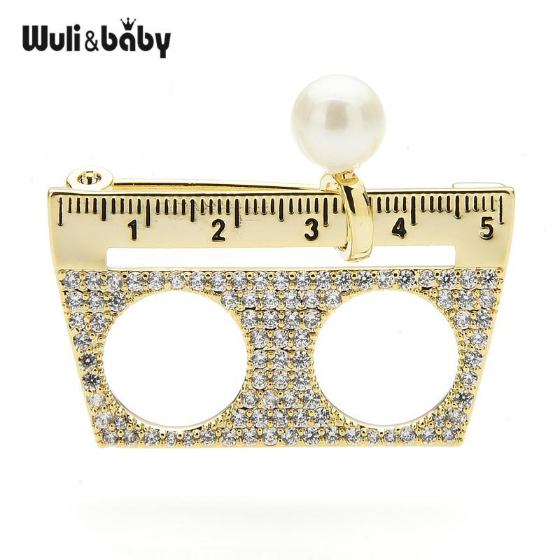 Wulibaby Tchech Strass Strineston Règle Broches Femmes Men Design Persional Papeterie Casual Bureau Broche Pinches Cadeaux