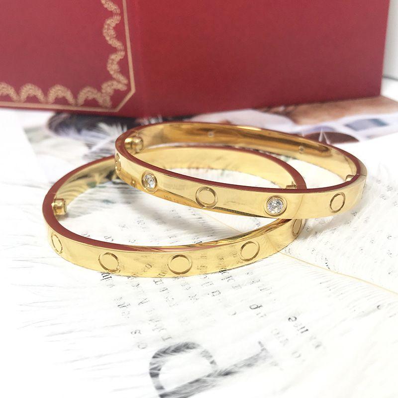 Männer / Frauen Größen Hohe Qualität Klassische Stile Snap Bangles Titanium Stahl Schmuck Gold Überzogene Armreifen Männer und Frauen Paar Armband Bestes Geschenk