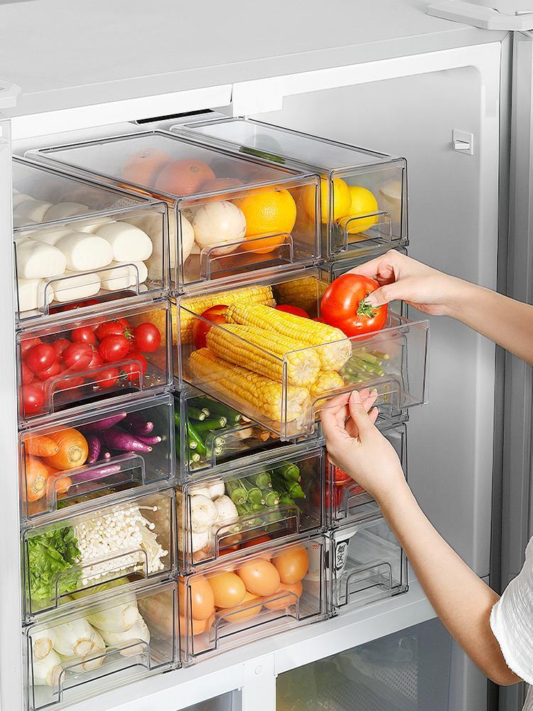 Frigorífico Organizador Bins Clear Fruit Food Jars Caixa de Armazenamento com Punho para Congelador Armário Acessórios de Cozinha Organização 210309