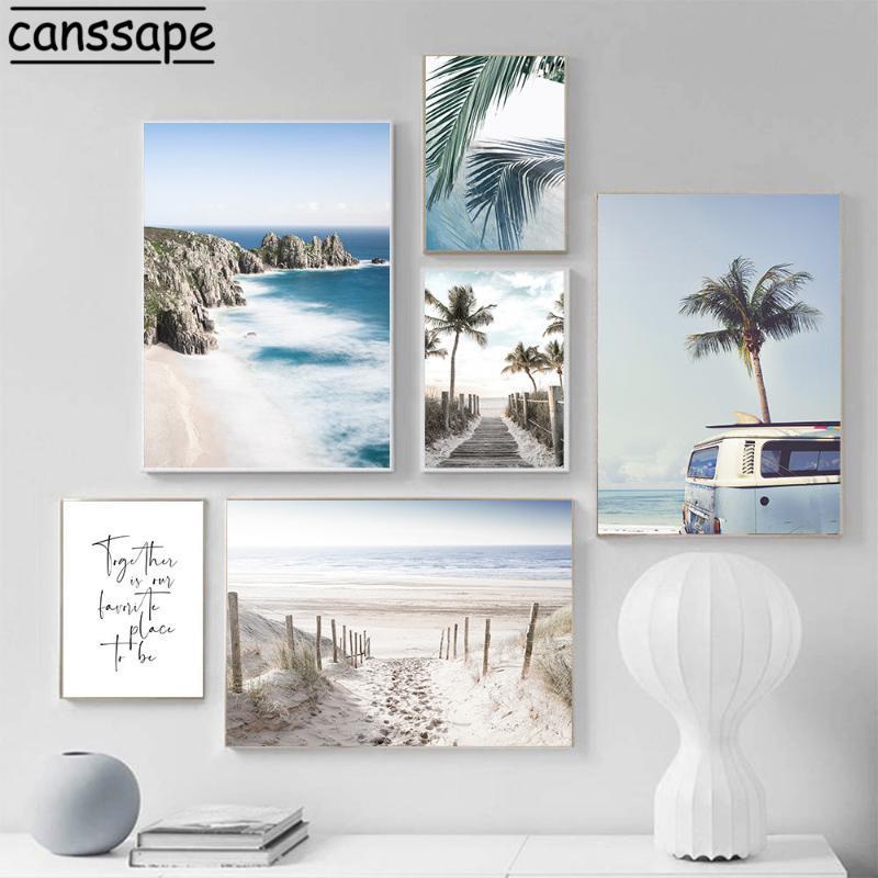 Pinturas Playa Océano Natural Paisaje Muro Lienzo Pintura Palmera Piña Arte Imprimir Nórdico Posters e impresiones Sala de estar Decoración