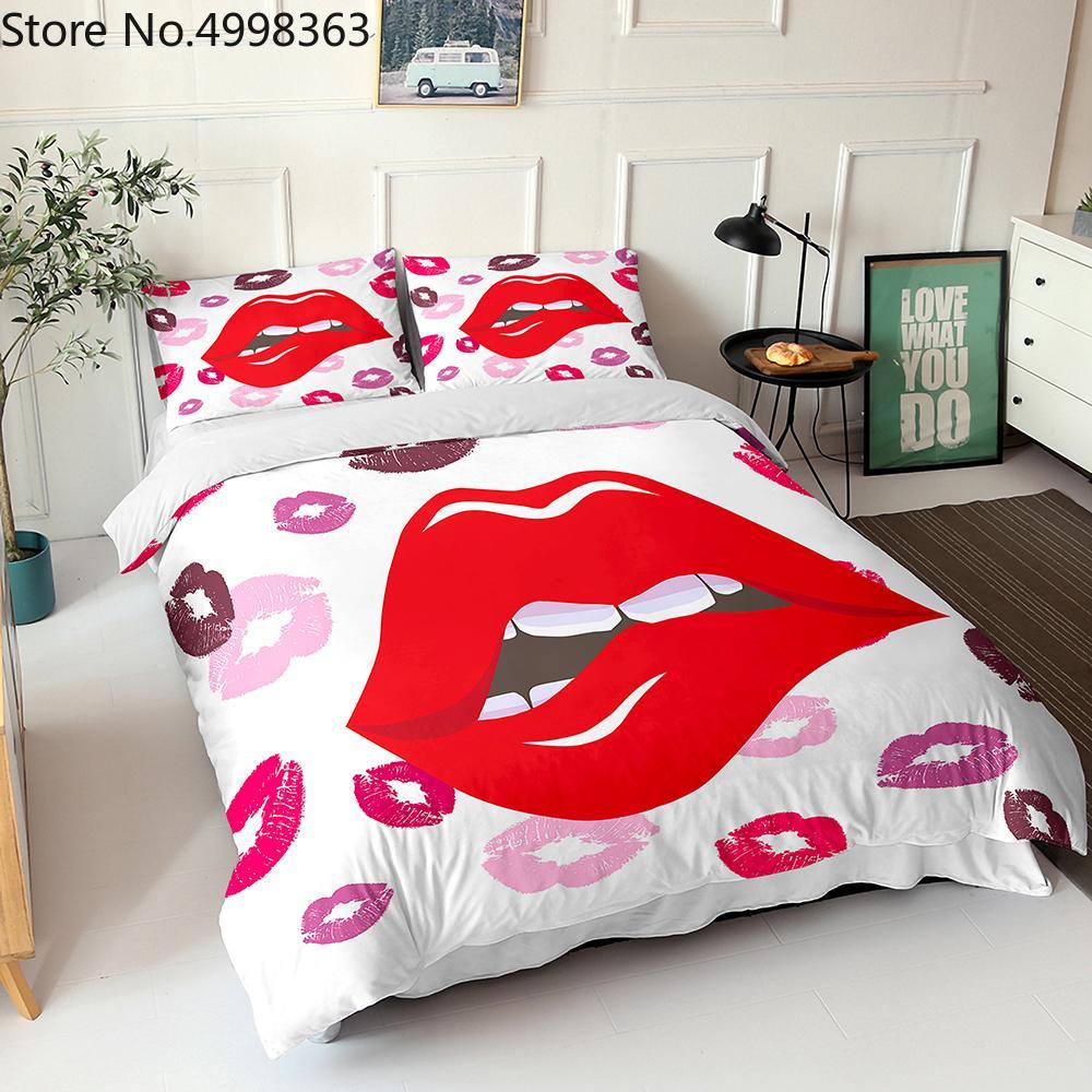 Girl Lips кровать белья набор 3D печатает мультфильм японские аниме постельное белье набор 2 / 3шт с наволочкой мягкий микрофибр мальчик одеяла набор 210317