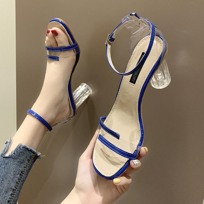 PVC Jelly Sandals Crystal Open Noed High каблуки женские прозрачные каблуки Sandale Femme A00199 210301