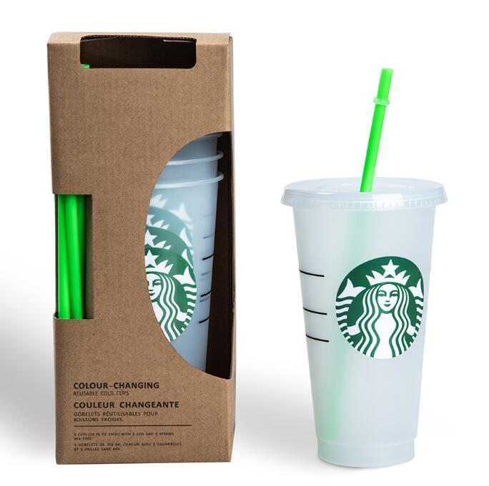 DHL Free Starbucks 24OZ/710ml Plastic Tumbler Reusable Clear Drinking Flat Bottom Cup Pillar Shape Lid Straw Mug Bardian