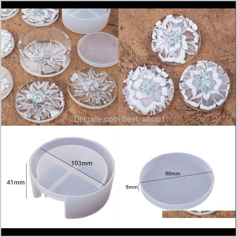 DIY Epoxy Resina Moldes Siile Herramientas Artesanales Circular Blanco Costera de Cristal Caída Glue Redondo Caja de almacenamiento Molde Transparente 9 5RH M2 JTNVF QRPX5