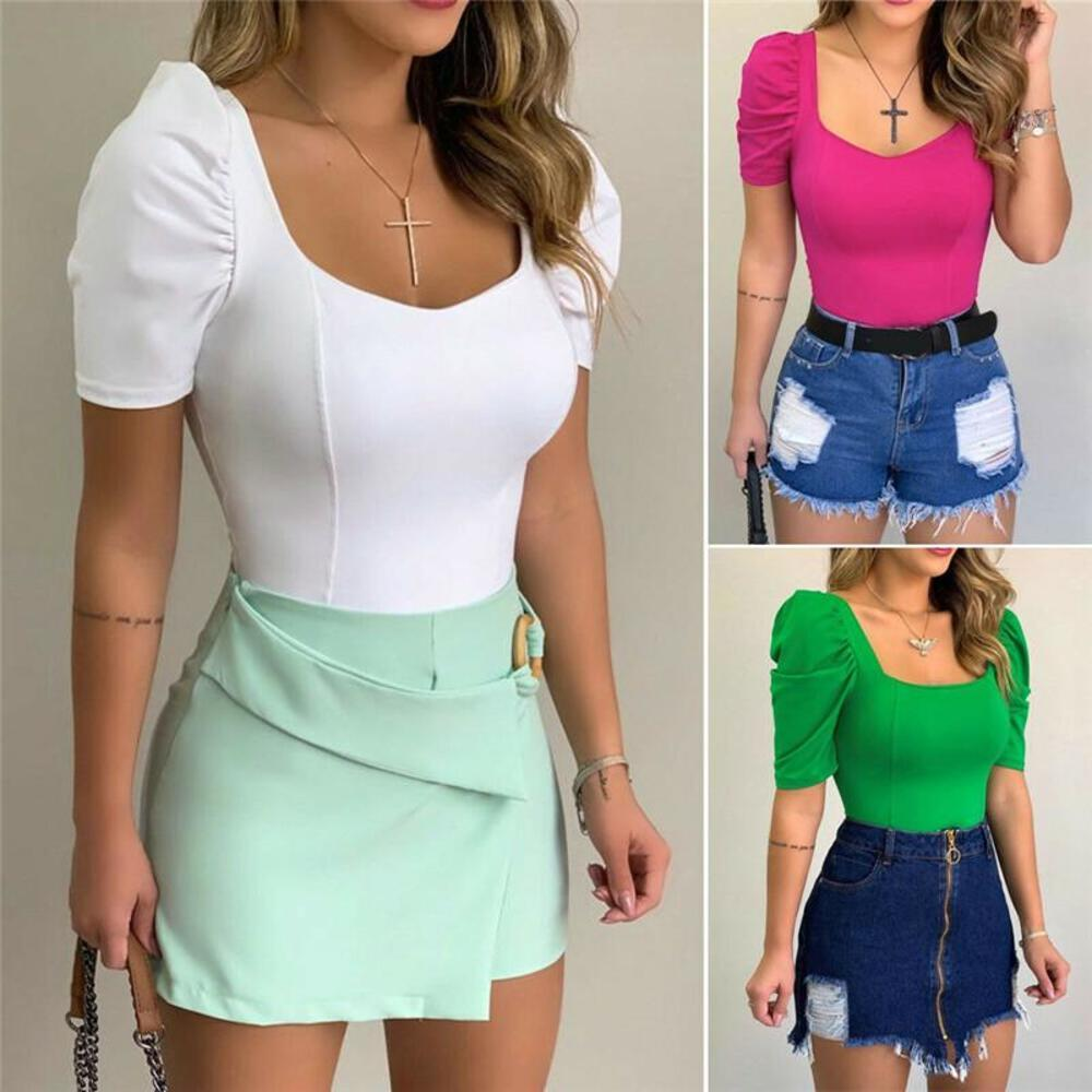 2021 New Women Shirt Blouse Slim V Neck Blouses Pullover Ladies Summer Puff Short Sleeve Solid Tops Shirt Tee Fashion Clothes