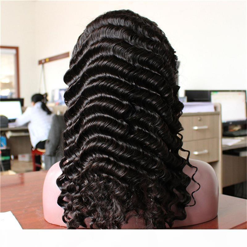 Натуральный цвет Женщина Бесплатная Доставка 130% Плотность Парик Человеческие Волосы Швейцарские Кружева Remy Полное кружево Глубокая Волна Бразильский Вригин Волосы