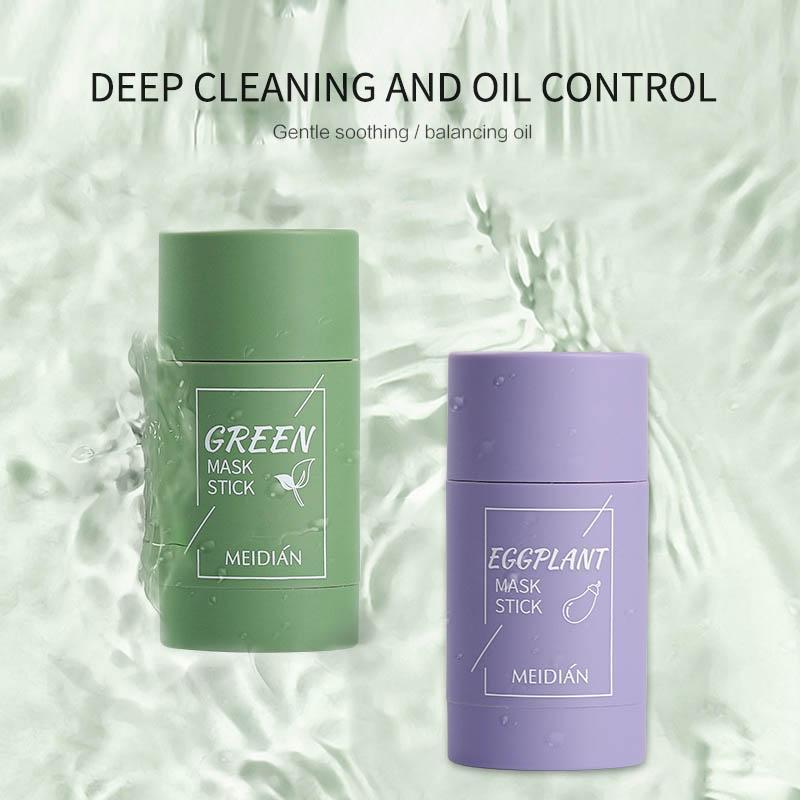 Green Tea Oil Control Eggplant Acne Cleansing Moisturizing Mask Skin Care Remove Blackhead Fine Pores Mud Mask Face Care