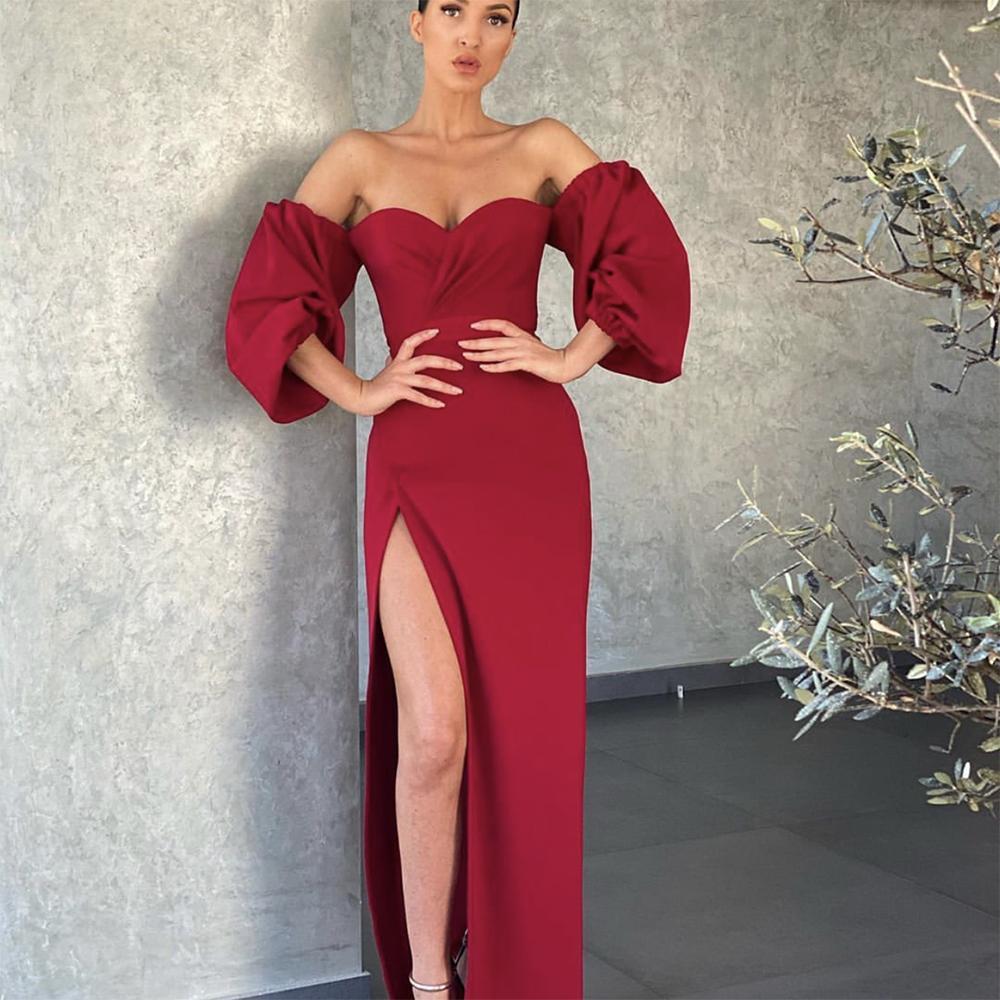 Burgundy Evening Dresses 2021 With Dubai Middle East High Split Formal Gowns Party Prom Dress Plus Size Vestidos De Festa Half Sleeve