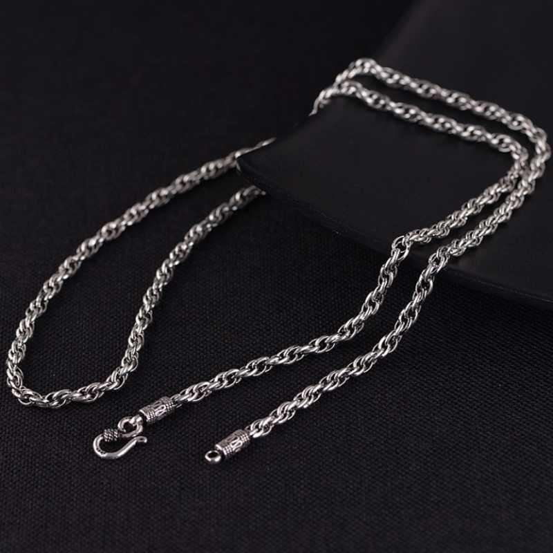 Correntes tailandeses prata clássico retro corda colares para homem mulheres s925 esterlina cadeia longa cruz cruzada jóia