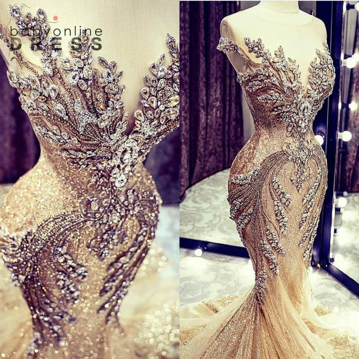 Шампанское русалка свадебные платья роскошные кристалл бусины блестки кружева разведка поезда свадебное платье реальная картина явная шапка рукав свадебные платья