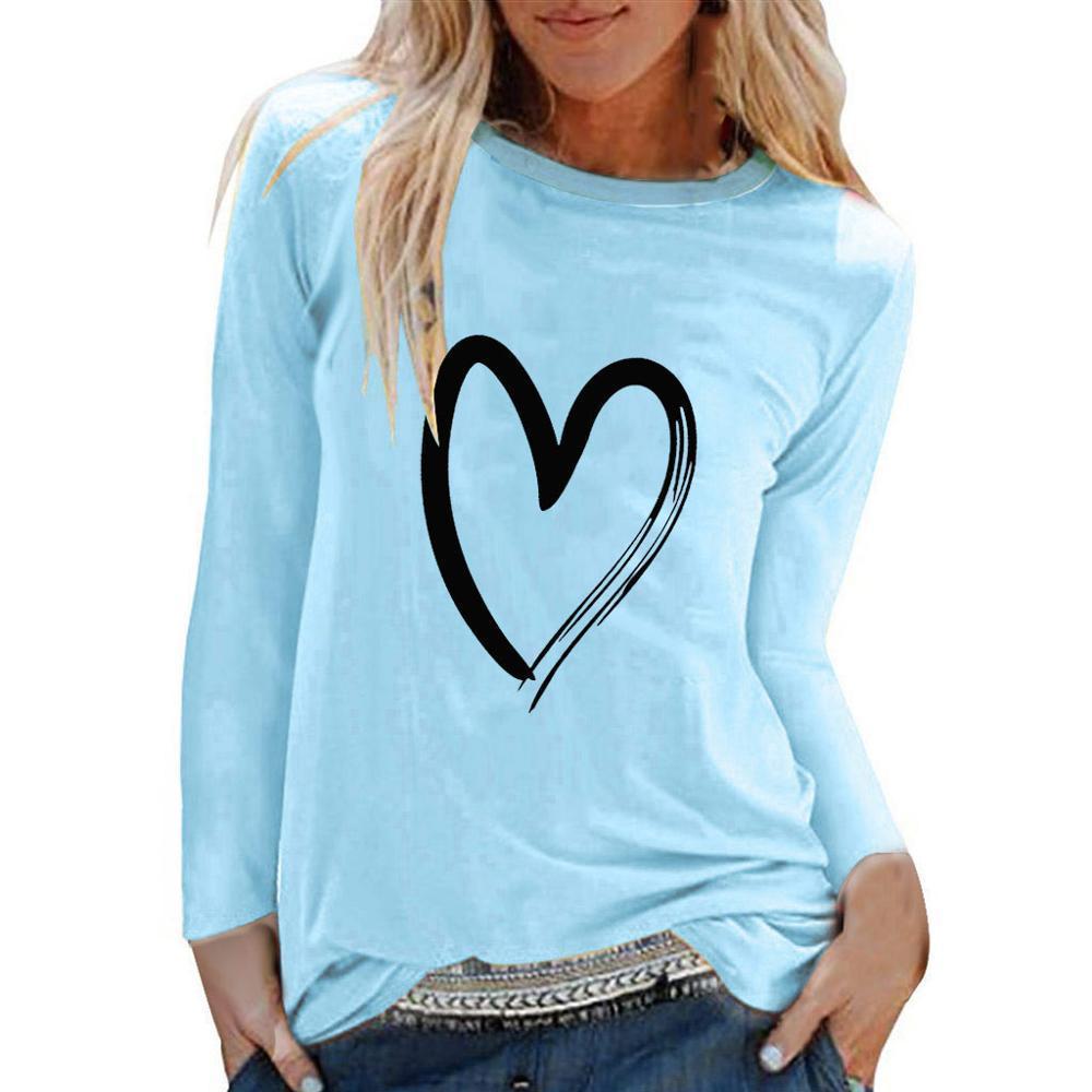 Rahat Uzun Kollu O-Boyun Dudaklar T Gömlek Kadın 3XL Artı Boyutu Gevşek Tees Tops Moda Bayanlar Giysi Bahar Yaz Tshirt C0220