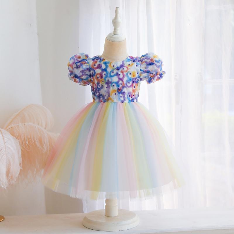 Девушка платья девочка летом для девочек радуга принцессы платье с коротким рукавом вечеринка Vestidos детская одежда