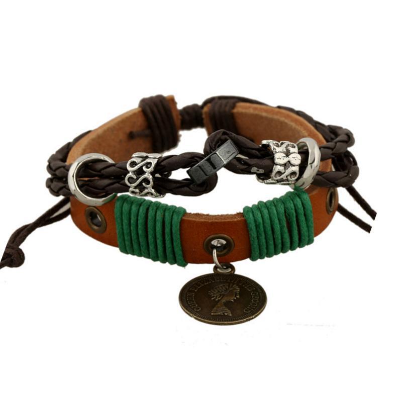 Горячие продажи сплава головы портрета кожаный браслет из бисера браслет японские и корейские украшения