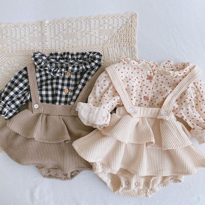 New Vintage Kids Girl Overall Shirt Set Clothes Autumn Linen Girls Floral Blouss , Romper , Dress Newborn Baby Girls Strap Outfits