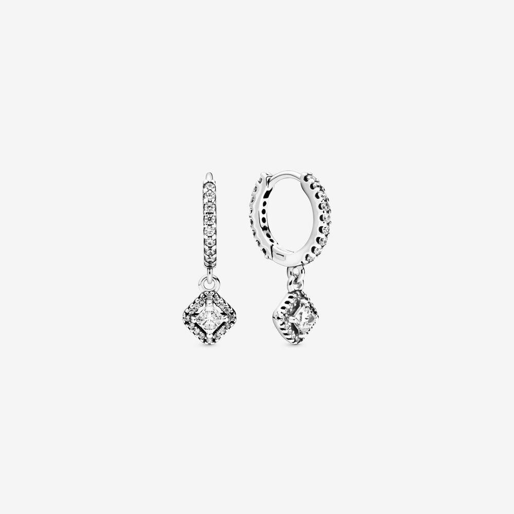 Nuovi arrivi Authentic Autentico 925 Sterling Silver Square Sparkle Hoop orecchini Orecchini di moda Orecchini Gioielli Accessori per le donne Regalo