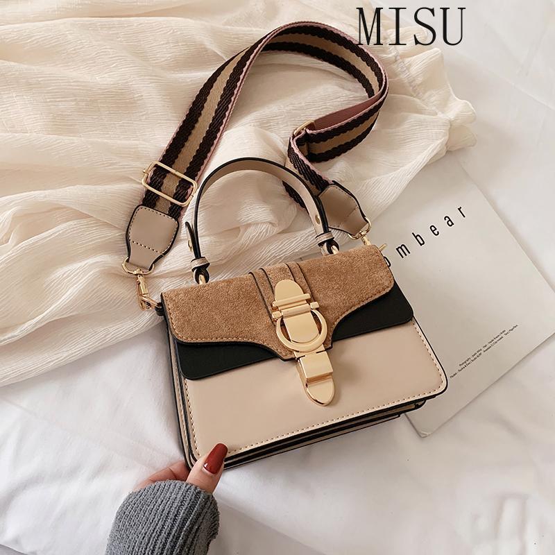 Bolsas de mano para mujeres 2021 Moda de alta calidad Pequeña bolsa cuadrada Pequeño Hombro Amplio Correa Crossbody Cuero Tote Messenger Bag