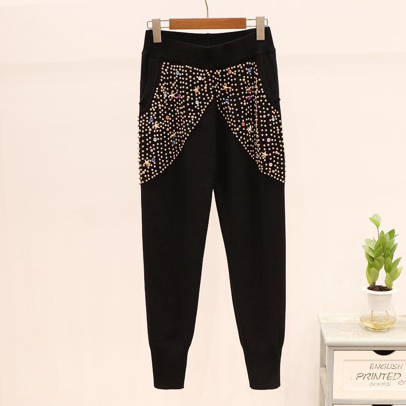 Kış Eşofman Sonbahar Kadın Gevşek Örgü 2 ADET Moda Boncuk Püskül Örme Kazak + Spor Kalem Pantolon Kadınlar İki Pluc Ruv5