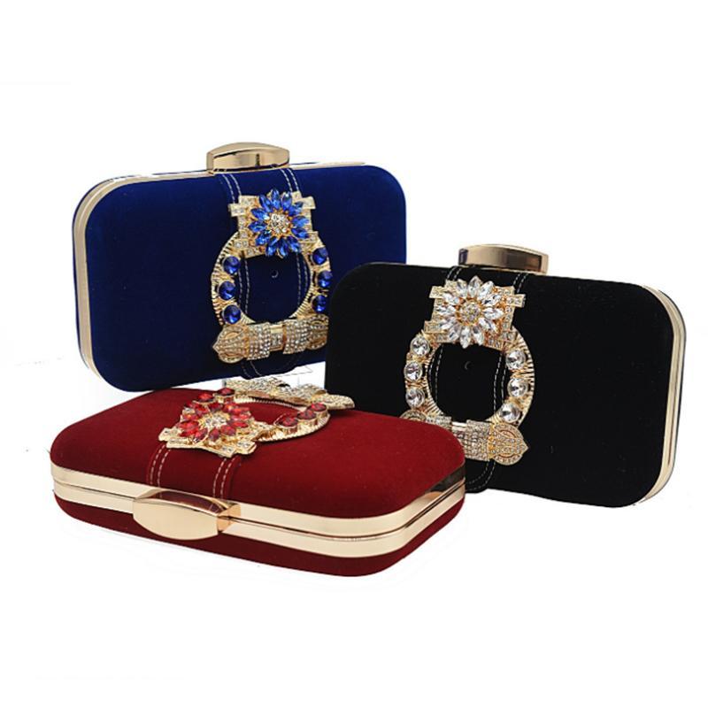 Bolso de cena de diamantes de imitación azul Monedero de franela de franela moda estilo europeo oro embragues de metal de damas bolsas de mensajero de hombro