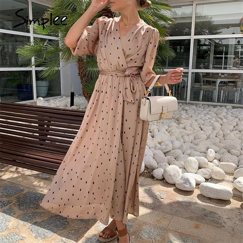 Simplee Polka Dot Kadın Wrap Elbise Zarif Puf Kollu Bir Hattı V Boyun Kanat Parti Elbise Wrap İş Giyim Streetwear Retro Maxi Elbise 210303