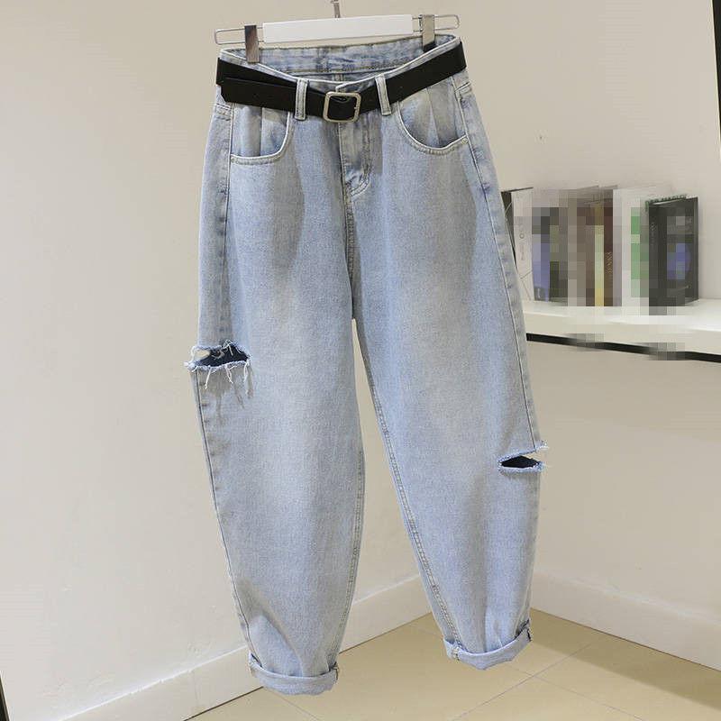 Women's Jeans Summer And Hong Versatile Pierced Harlan High Pants Korean Kong Radish Style Spring Waist Fashion Pi