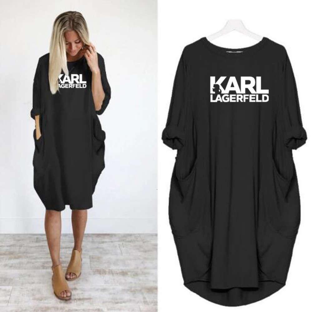 2021 Женщины Карл Случайное Свободное платье Письмо Весна Осень Большой Размер 4XL 5XL Плюс Размер Одежда Одежда Платье
