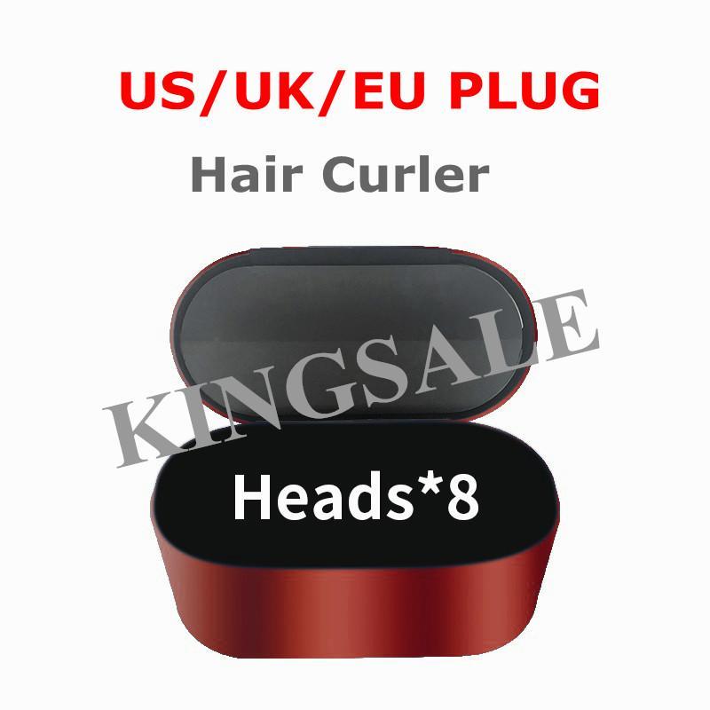 헤어 스타일러 컬러 전문 살롱 도구 EU / 미국 / 영국 버전 8HEADS 정상적인 머리카락 선물 상자에 대 한 철 컬링 철 패스트 spevil 배송