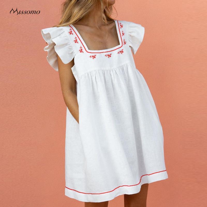 Повседневные платья Missomo Халаты для женщин Летнее платье Элегантный квадратный воротник Карманные папки с коротким рукавом Женщина Vestido de Mumuler Vestidos