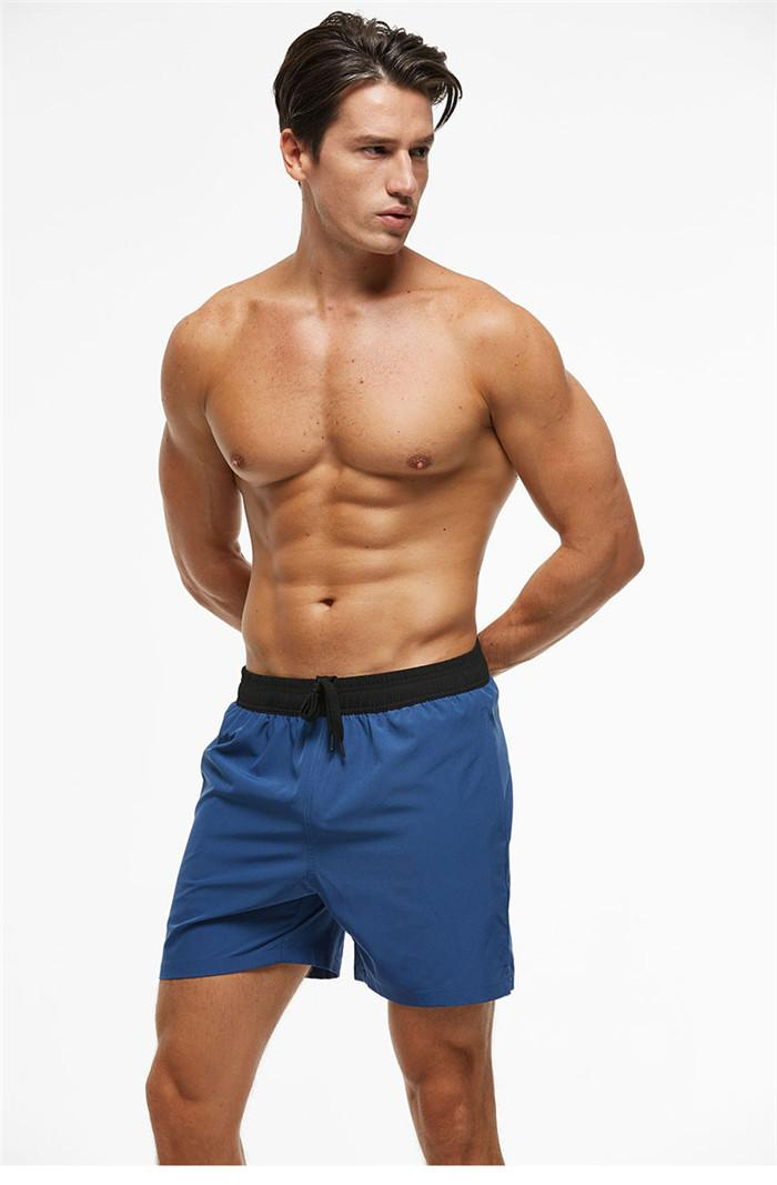 Mens Beach Swimwear Solid Color Elasticity Casual Beach Board Shorts Summer Breathable Quick Dry Men Swimming Trunks