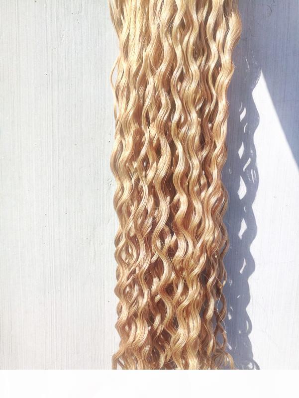 Бразильские человеческие девственницы глубоко вьющиеся вьющиеся волосы Remy Dark Blonde 27 # Цвет волос уток 2-3 для полной головы